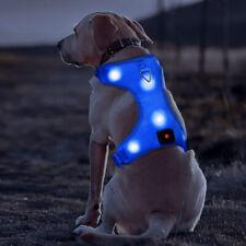 New LED Dog Harness Light Up Adjustable Flashing Safety Belt Collar High Vis UK