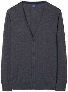 GANT Men's Sweater Size L Fine Merino Cardigan 100% Merino Wool