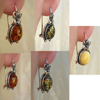 BALTIC WHITE, HONEY or GREEN AMBER & STERLING SILVER EURO HOOK EARRINGS