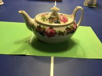 Phoenix China PHE7 Tea Pot and Lid 3.5 in. Cecho Slovakia Pink Roses Blue Floral