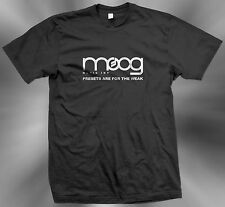 Moog Music Inc Black T-shirts Presets Are For The Weak Sz. S, M, L, XL, 2XL, 3XL