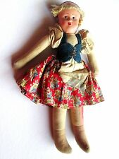 Antique 1900s Poland Cloth stuffed Doll Paper Mache Head Signed by Maker