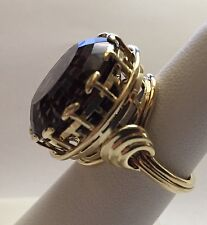 Women's 14K Solid Gold Ring with Beautiful 25 Carat Round Faceted Smoky Quartz