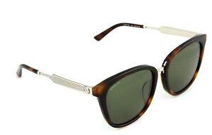RARE NEW Genuine GUCCI Havana Silver Green Sunglasses GG0073SK 003