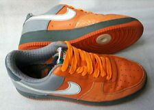 RARE NIKE AIR FORCE ONE CHOZ SIZE 9.5 ORANGE/GREY LEATHER TRAINERS VGC FREE P&P