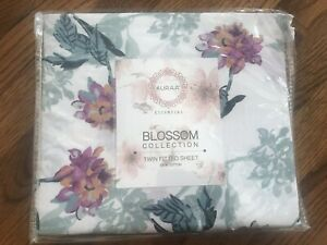 Auraa Essential Blossom Collection Floral Twin Fitted Sheet