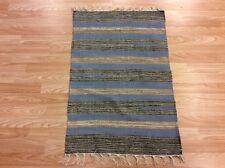 Striped Beige Blue Handloomed 100% Cotton Rag RUG Durrie Mat 60x90cm 2x3 50%OFF