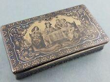 Fabulous French Silver Gilt & Niello Box w/ figural scene c1800's