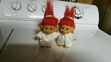 Russ Trolls Angels Red Hair Pair Gold Wings Christmas White Gown Nice Condition