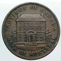 1842 LOWER CANADA Antique Montreal Building OLD PENNY BANK TOKEN Coin i90519