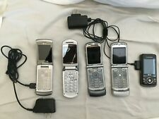 Lot of 5 Vtg Cell Phones + 2 Chargers •3 Motorola+1 Lg Flip Phones+1 Sony Pushup
