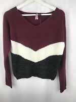 Love By Design Women's Chevron V-Neck Sweater Pullover Metallic Large NWT N1224