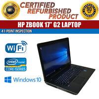 """HP ZBook 17 G2 17.3"""" Intel i7 16GB RAM 500GB HDD Win 10 WiFi USB B Grade Laptop"""