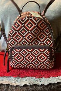 Fossil Felicity Smoke Red Multi-Color Geometric PVC Zip Shoulder Bag Backpack