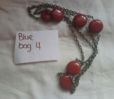 Silver tone metal chain and red stone disks Jasper maybe