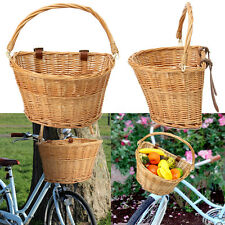 Vintage Wicker Bicycle Basket Leather Straps For Bike/Cycle Shopping 35x26x22CM