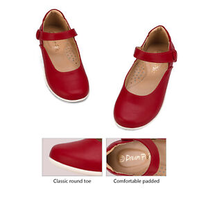 DREAM PAIRS Girls Mary Jane Flats School Uniform Shoes Dress Oxford Toddler Red