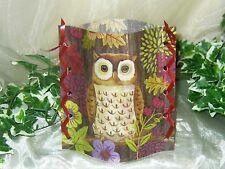 1 Deko Windlicht Eule Owl Blätter Blumen Tischlicht Unikat