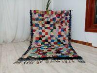 "Checkered Handmade Moroccan Rug,4'1""x 6'6""Feet,Berber Vintage Boucherouit Carpet"