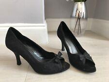 Phase Eight Black Lace Peep Toe Court Shoes Size 6