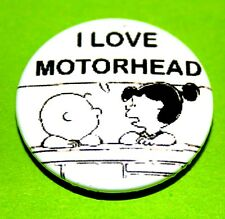 I LOVE MOTORHEAD LEMMY SNOOPY PEANUTS INSPIRED BUTTON PIN BADGE