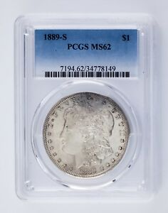 1889-S $1 Silver Morgan Dollar Graded by PCGS as MS62! Great Coin!