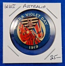 Original Vintage Wwi Ww1 Australia Burra Violet Day 1919 Pin Pinback Button