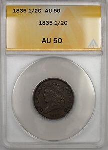 1835 Classic Head Half Cent 1/2c Coin ANACS AU-50 PRX