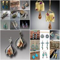 Vintage Turquoise Gem 925 Silver Earrings Hook Women Wedding Dangle Drop Jewelry