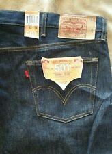 Levis 501 Shrink To Fit Rigid Button Fly Blue Denim Jeans Big & Tall Men 52 X 34