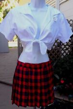 "Sexy Leg Ave 2Pc ""School Girl"" Costume w/Plaid Pleated Skirt, Short Tie Top M/L"