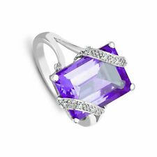 7.04ctw Amethyst and Diamond Cocktail Ring 18ct White Gold Certificate