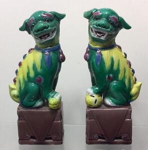 Vintage Pair of Handpainted Chinese Ceramic Foo Dogs, Fu Lions