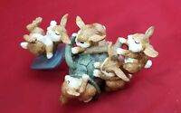 CERAMIC FAMILY OF BUNNY RABBITS PLAYING IN THE GARDEN WITH SHOVEL WATERING JUG