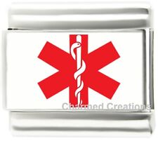 Medical Alert Red Star Of Life Caduceus 9mm Italian Charm For Your ID Bracelet
