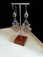 """Bohemian Tribal Earrings 3"""" Dark Blue Accent (Style #3)"""