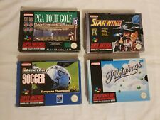 SNES Boxed Starwing Pilot wings Sensible Soccer PGA Tour Golf Super Nintendo PAL