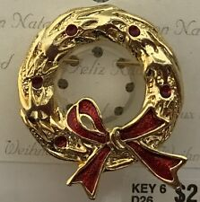 Christmas Wreath Brooch Pin Jewelry enamel gold plated