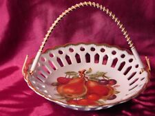 Vintage Nevco Made In Japan Bowl  with Handle ~ Fruit Designed Porcelain Basket