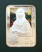 Andorra 10 dinar 2008 Leonardo da Vinci artists silver 0.925 proof