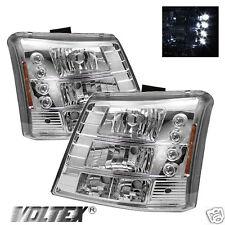 2003-2007 CHEVY SILVERADO 1500HD 2500HD LED CRYSTAL HEADLIGHTS LIGHTBAR CHROME
