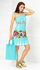 DRESS SUNDRESS BEACH LOUNGE LUX NATURAL FLORAL ROMANTIC MADE IN EUROPE XS S M L