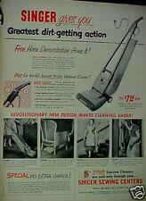 1950 Singer Vacuum Sweeper Household Appliance Print AD