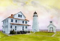 Cove Point Lighthouse Chesapeake Bay Maryland Matted Watercolor Art Prints