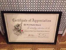 FIRST BAPTIST CHURCH TROY FRAMED CERTIFICATE OF APPRECIATION FROM AMER RED CROSS