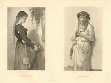 Pretty Ladies, Shakespeare, Drama, Marguerite, Ophelia, 1888 Antique Art Print,