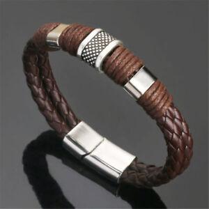 Fashion Men Women Leather Titanium Steel Magnetic Braided Clasp Bracelet Bangle