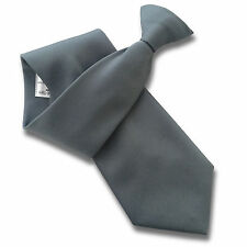 Grey PLAIN Security Guard Bouncer Clip On Tie