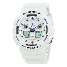 Casio G Shock Analog Digital White Dial White Resin Strap Mens Watch GA100A-7