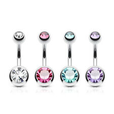 4 lot Double Gem Ball Belly Button Rings Navel Bar Stud Barbell Piercing Jewelry